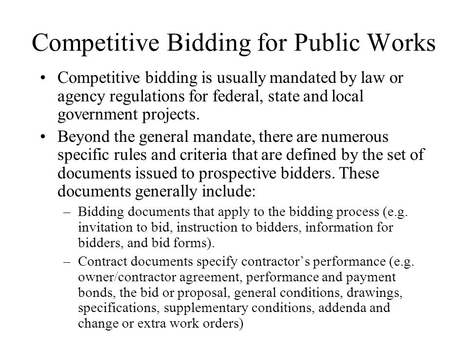 Competitive Bidding for Public Works