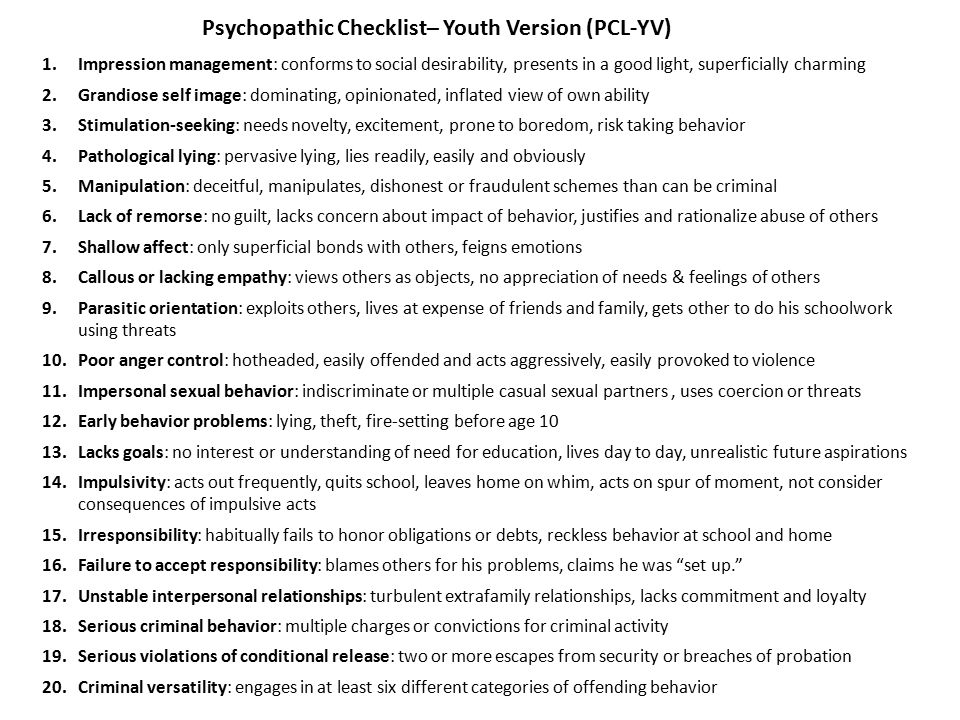Emerging Research On Psychopathy In Youthful Offenders Ppt Download