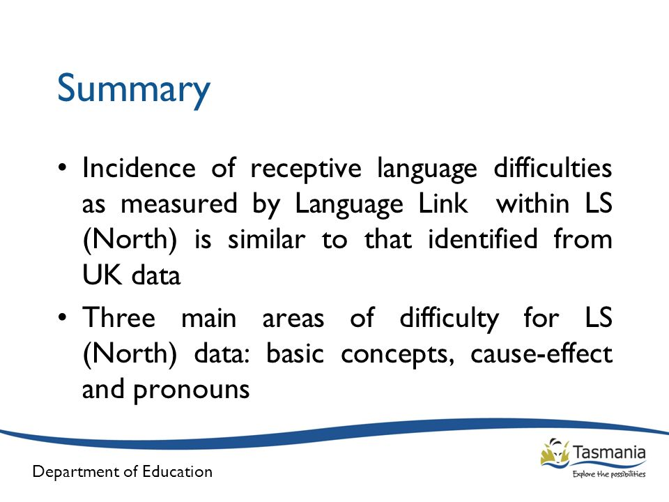 Summary Incidence of receptive language difficulties as measured by Language Link within LS (North) is similar to that identified from UK data.