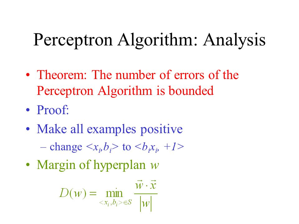 Perceptron Algorithm: Analysis