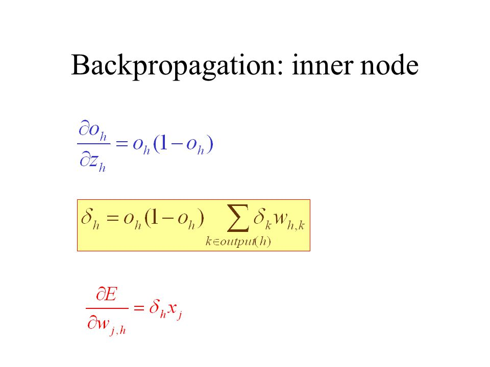Backpropagation: inner node