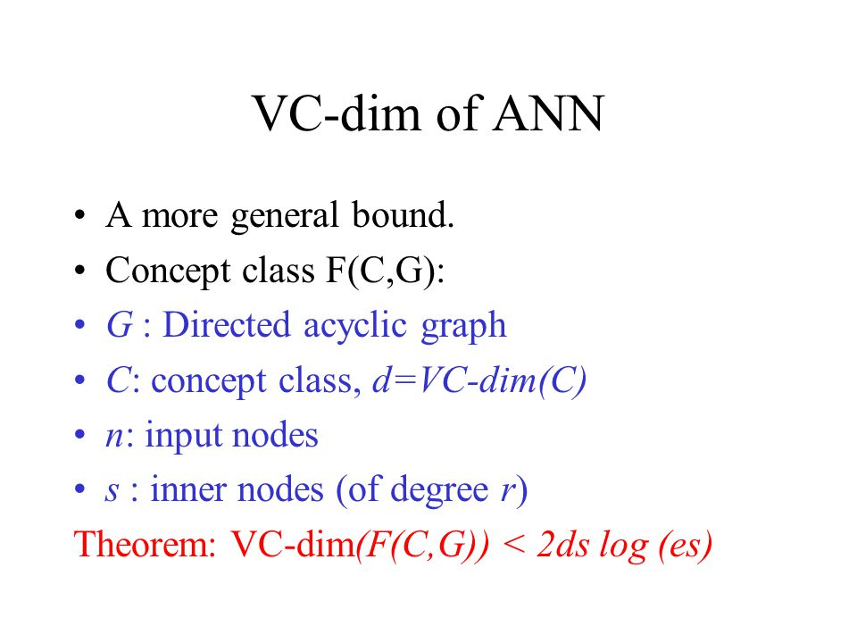 VC-dim of ANN A more general bound. Concept class F(C,G):