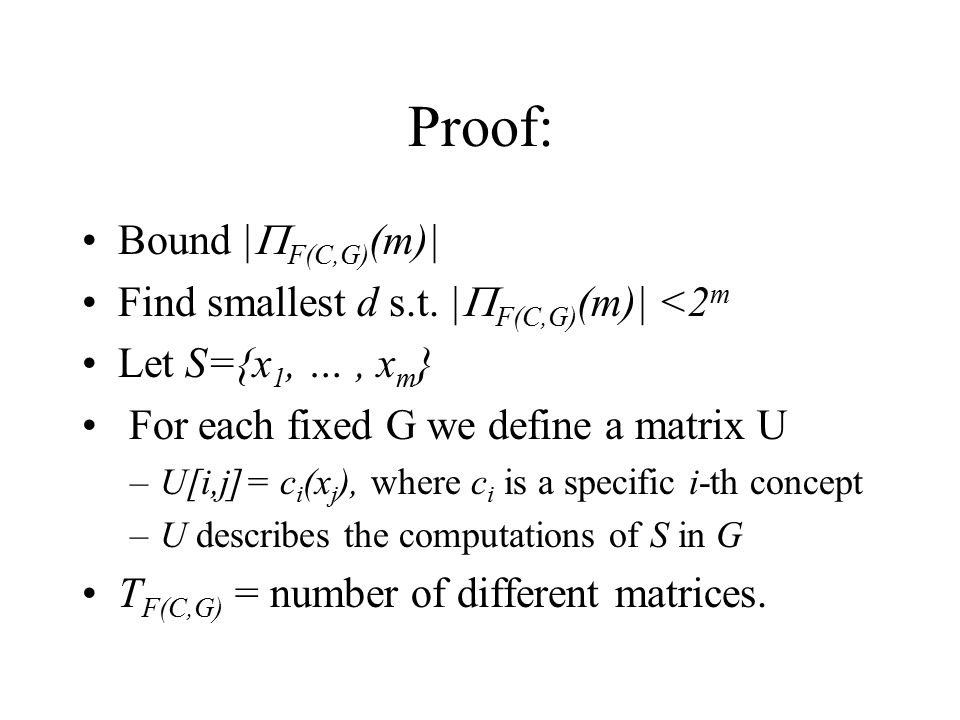 Proof: Bound |F(C,G)(m)| Find smallest d s.t. |F(C,G)(m)| <2m