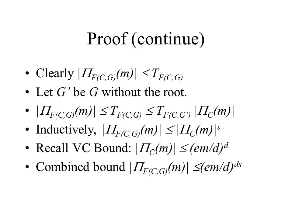 Proof (continue) Clearly |F(C,G)(m)|  TF(C,G)