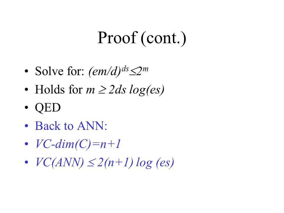 Proof (cont.) Solve for: (em/d)ds2m Holds for m  2ds log(es) QED