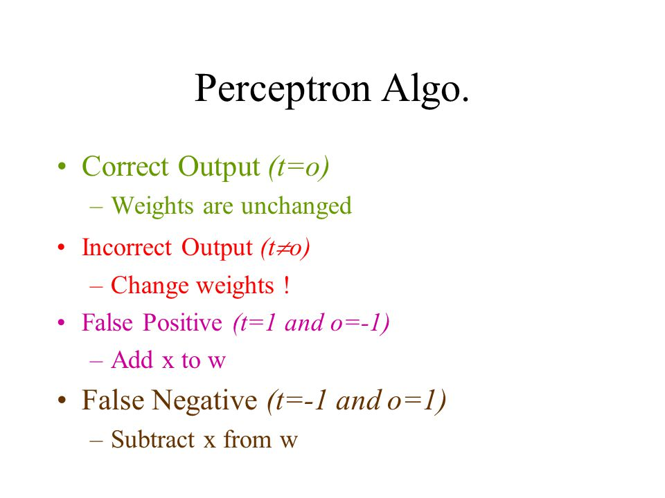 Perceptron Algo. Correct Output (t=o) False Negative (t=-1 and o=1)