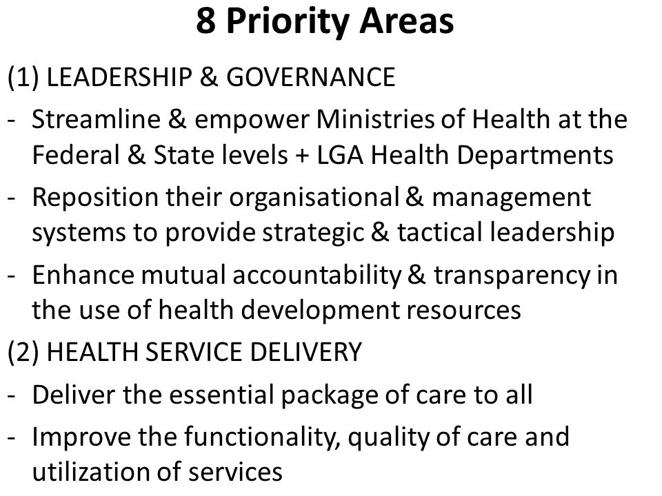 8 Priority Areas (1) LEADERSHIP & GOVERNANCE