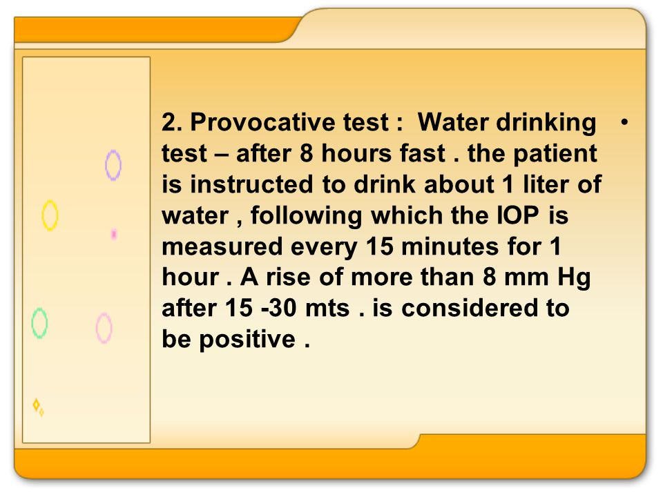 Intraocular Pressure Drinking Water