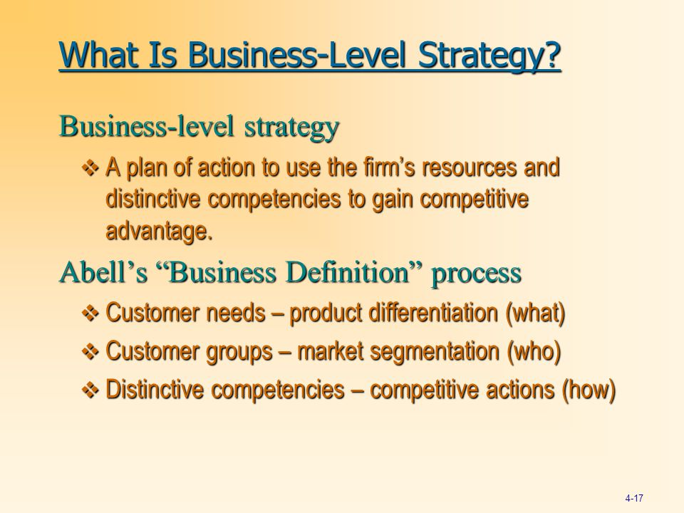 What Is Business-Level Strategy