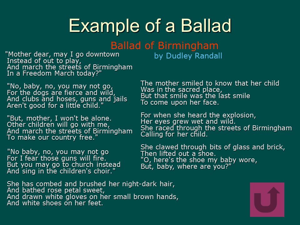 ballad of birmingham and evolution Dudley randall's poem ballad of birmingham centers on the real-life 1963 bombing of an african-american church it begins with a mother-daughter discussion of a freedom march the mother refuses to grant permission for her daughter to participate instead, the girl is allowed to attend church.