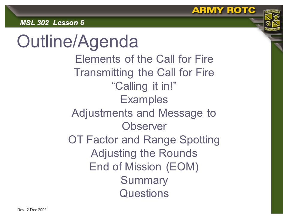 Outline Da Elements Of The For Fire