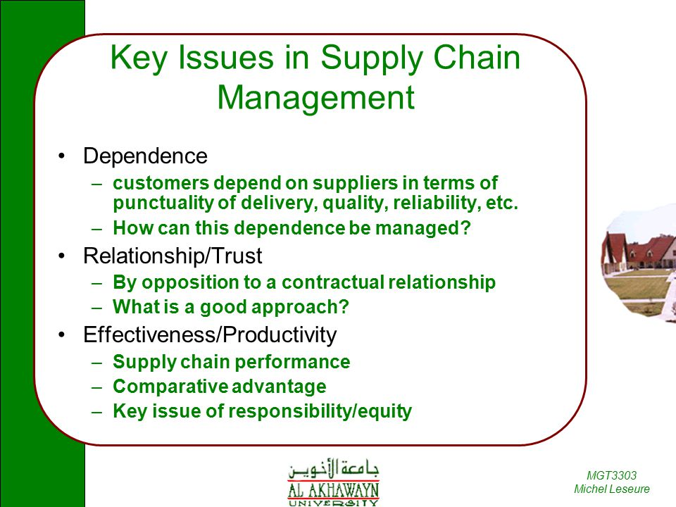 Key issues in supply chain management ppt
