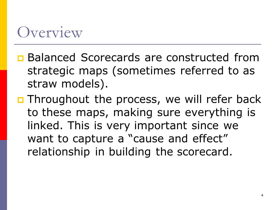 Overview Balanced Scorecards are constructed from strategic maps (sometimes referred to as straw models).