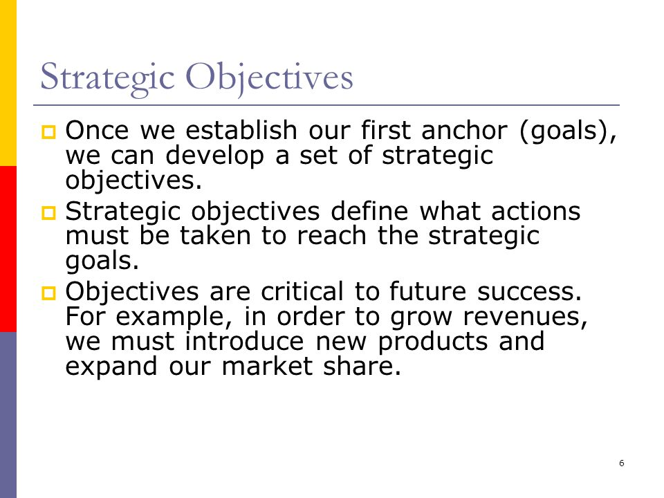 Strategic Objectives Once we establish our first anchor (goals), we can develop a set of strategic objectives.