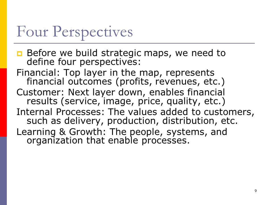 Four Perspectives Before we build strategic maps, we need to define four perspectives: