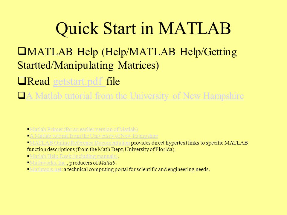 Outline 1- Quick Introduction to MATLAB 2- PDE Toolbox 3- BVP - ppt