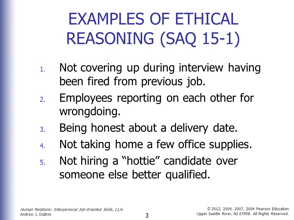 Ethical behaviour example.
