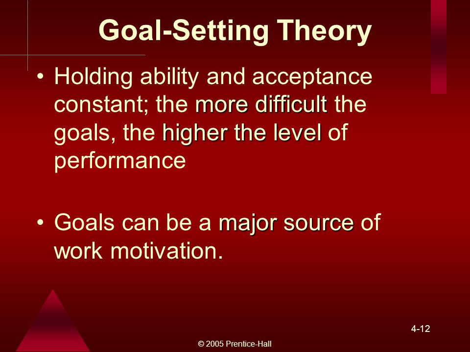 Goal-Setting Theory Holding ability and acceptance constant; the more difficult the goals, the higher the level of performance.