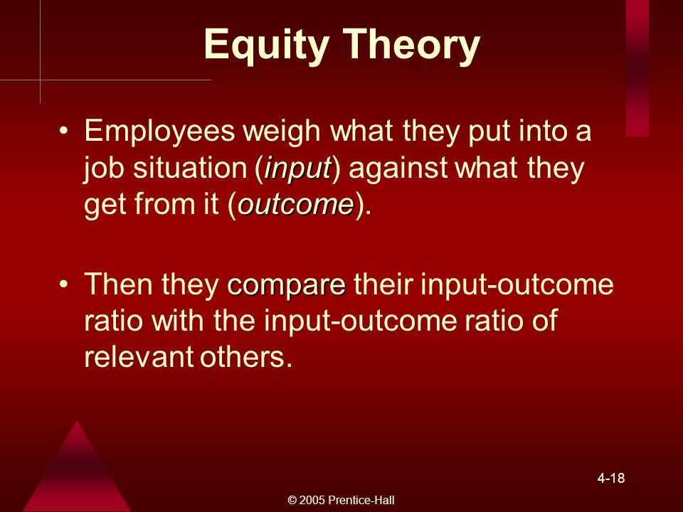 Equity Theory Employees weigh what they put into a job situation (input) against what they get from it (outcome).