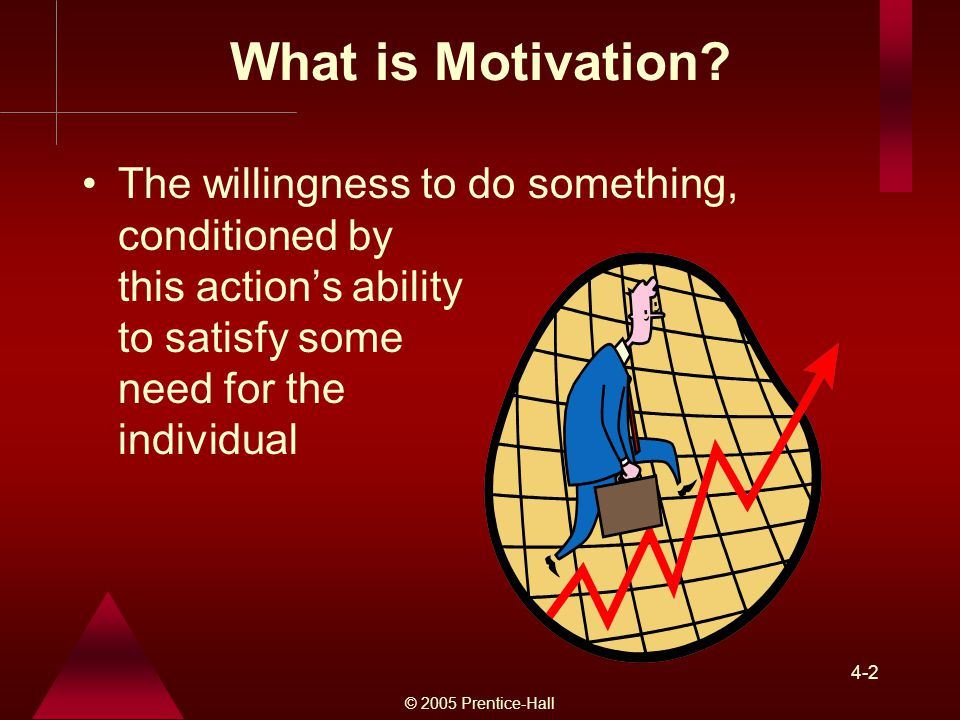 What is Motivation The willingness to do something, conditioned by this action's ability to satisfy some need for the individual.