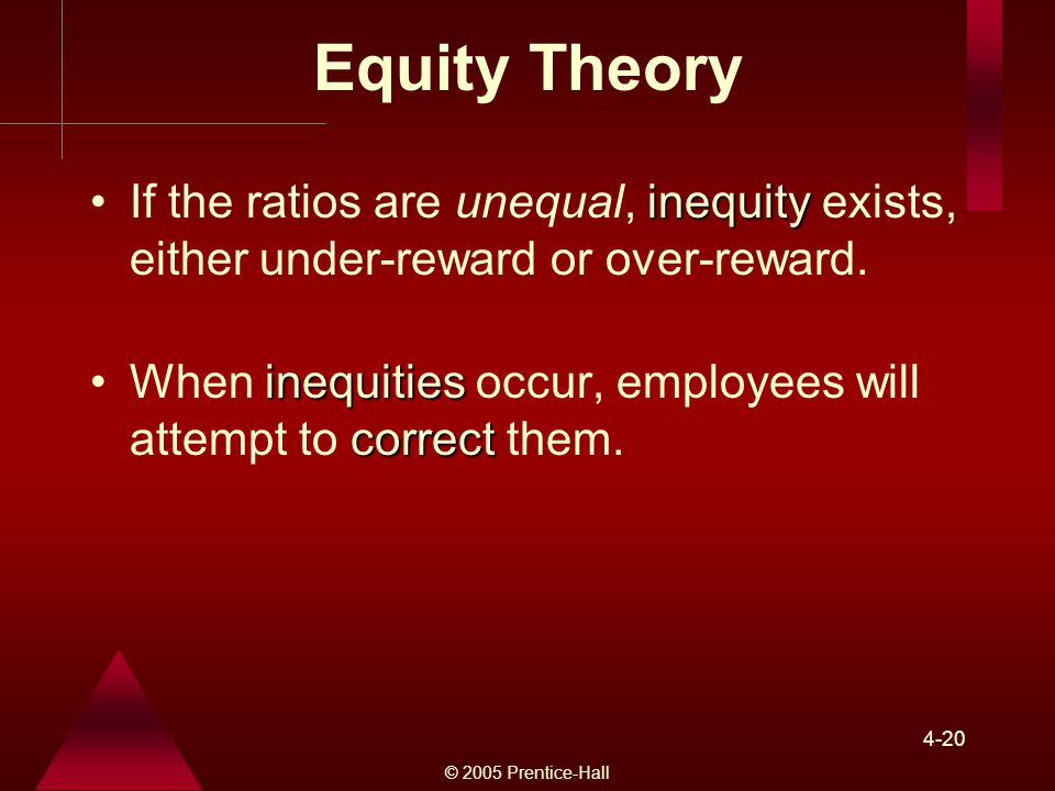 Equity Theory If the ratios are unequal, inequity exists, either under-reward or over-reward.
