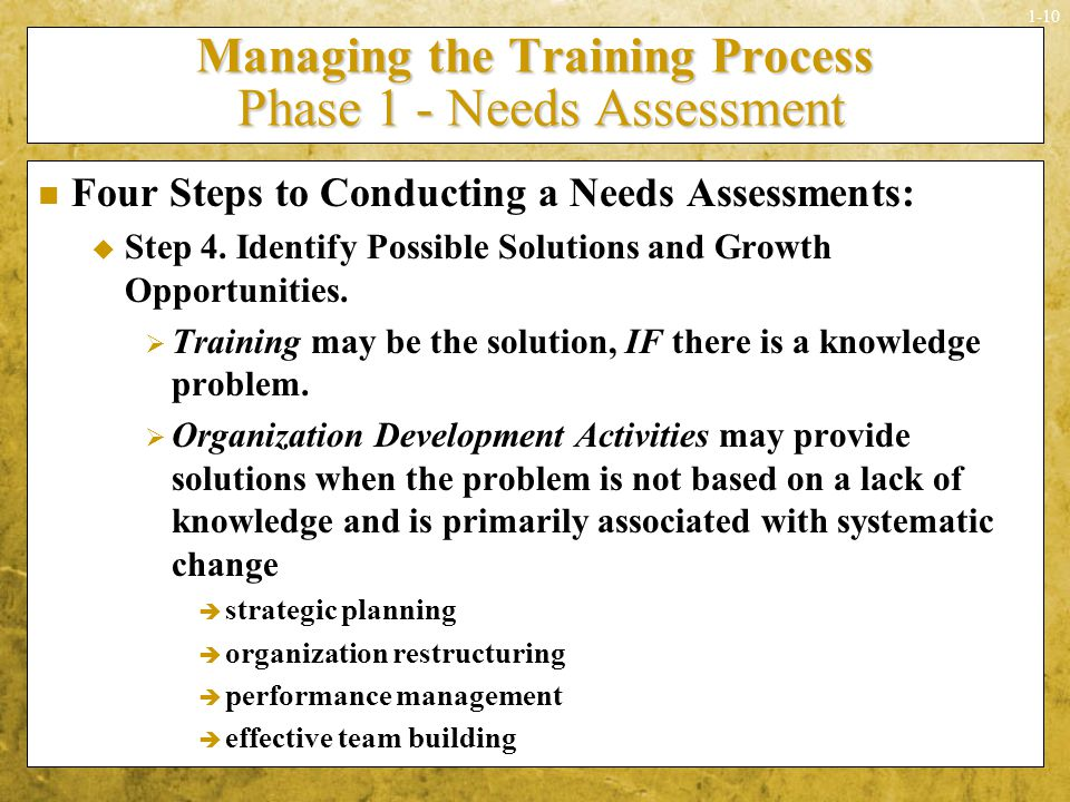 Managing the Training Process Phase 1 - Needs Assessment