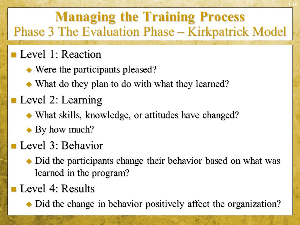 Managing the Training Process Phase 3 The Evaluation Phase – Kirkpatrick Model