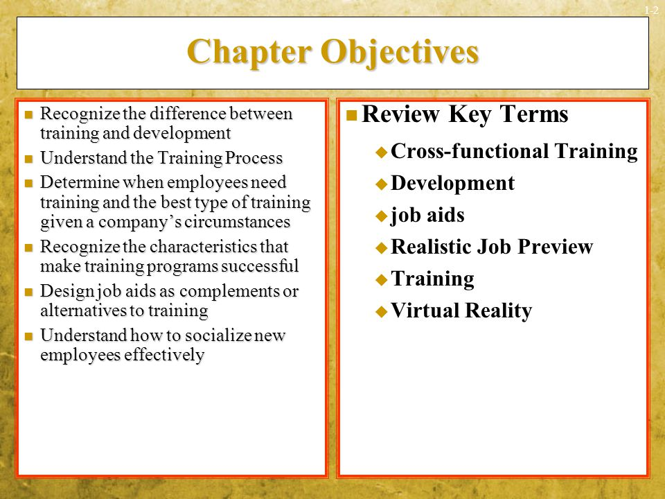 Chapter Objectives Review Key Terms Cross-functional Training