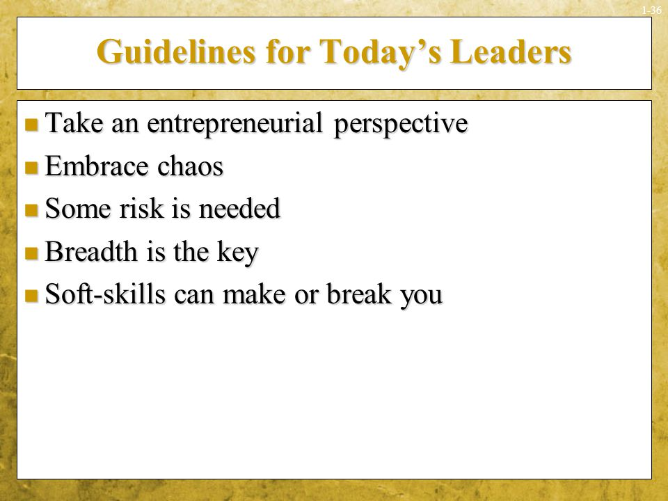 Guidelines for Today's Leaders