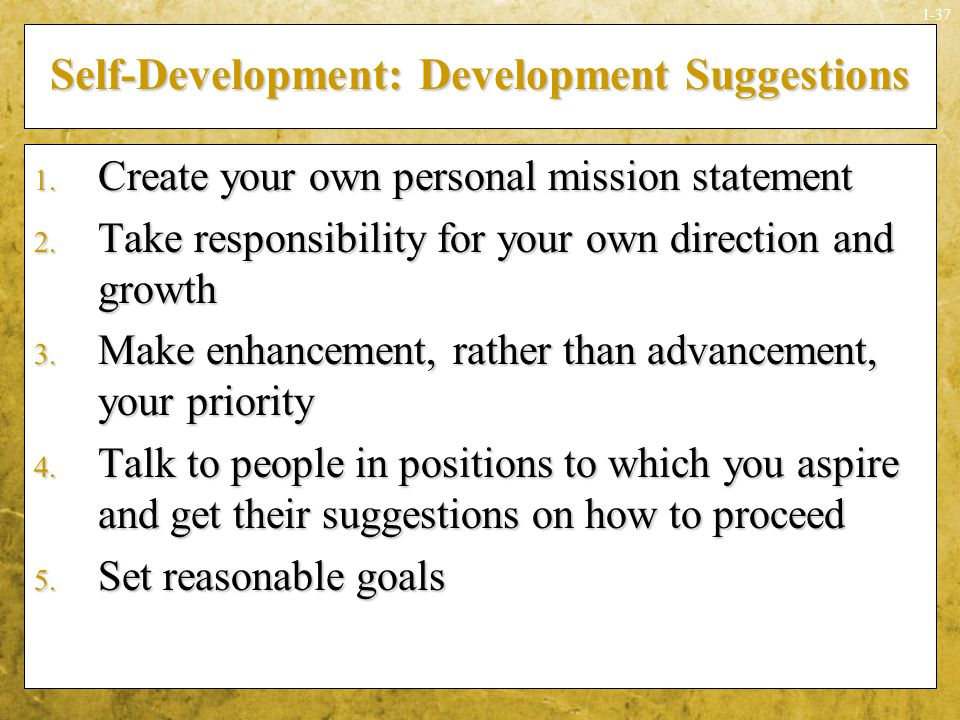 Self-Development: Development Suggestions