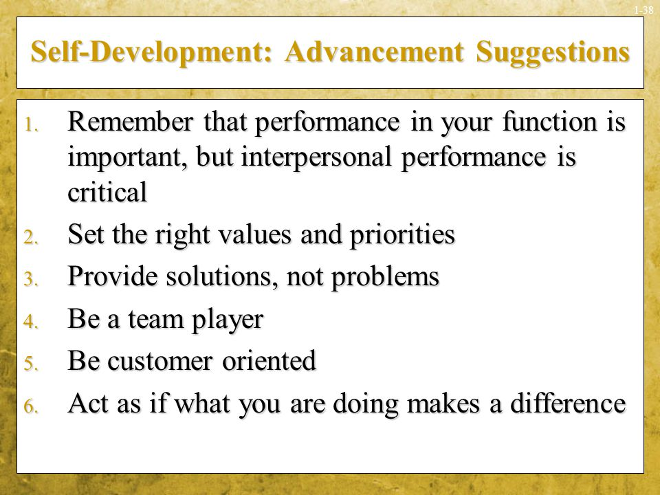 Self-Development: Advancement Suggestions