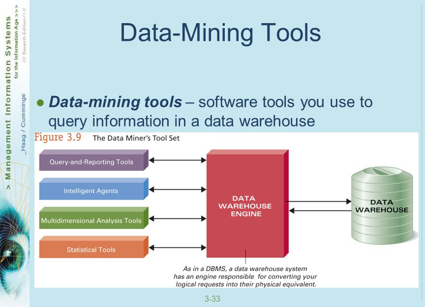 Data-Mining Tools Data-mining tools – software tools you use to query information in a data warehouse.