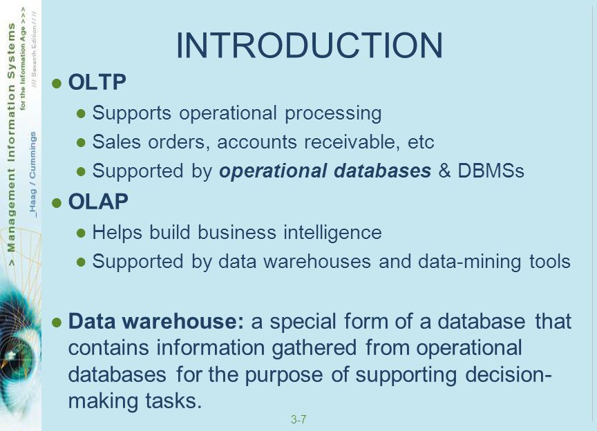 INTRODUCTION OLTP OLAP