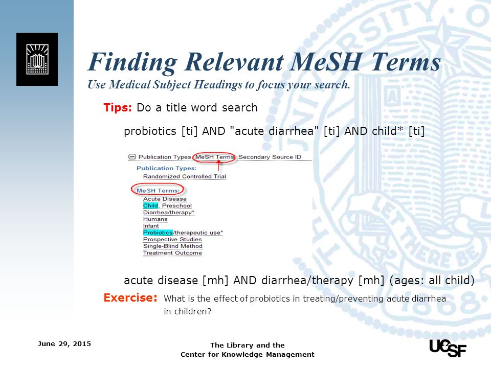 Finding Relevant MeSH Terms Use Medical Subject Headings to focus your search.