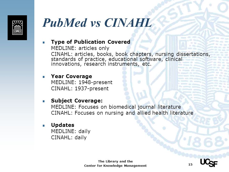PubMed vs CINAHL Type of Publication Covered MEDLINE: articles only