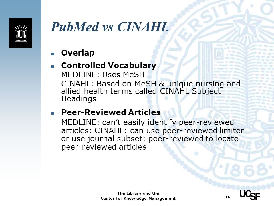 PubMed vs CINAHL Overlap Controlled Vocabulary MEDLINE: Uses MeSH
