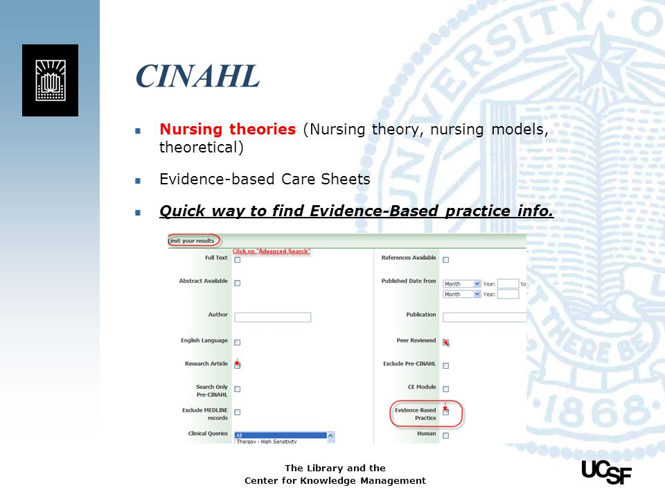 CINAHL Nursing theories (Nursing theory, nursing models, theoretical)