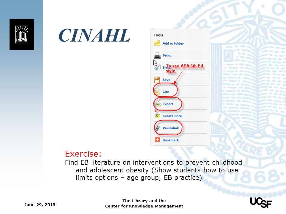 CINAHL Exercise: