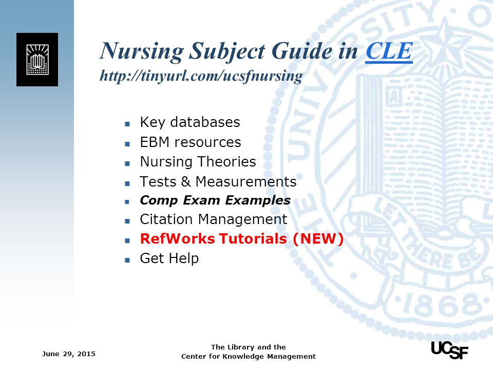 Nursing Subject Guide in CLE