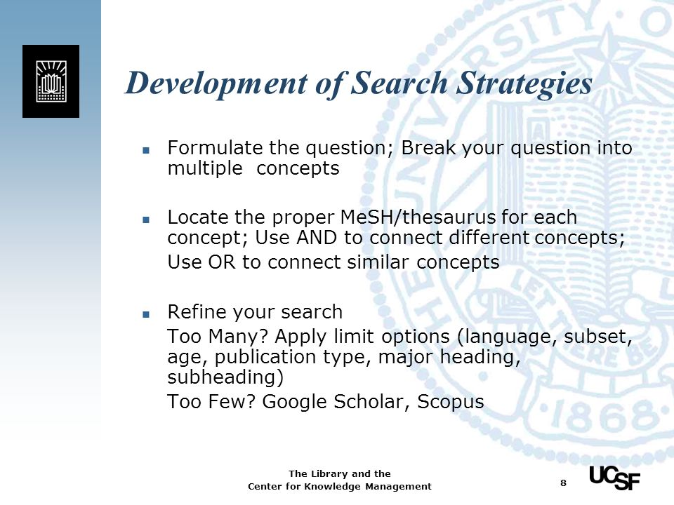Development of Search Strategies