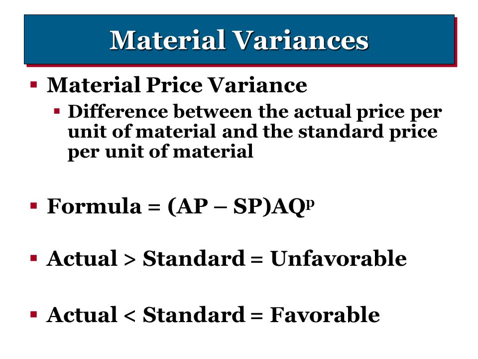 Standard Costing And Variances Ppt Download