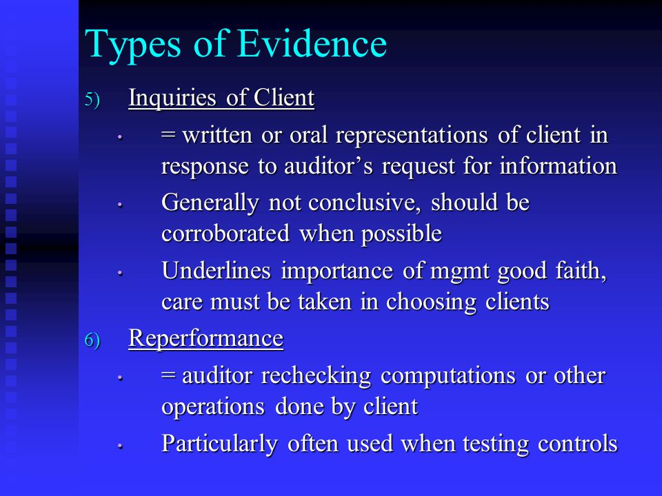 Types of Evidence Inquiries of Client