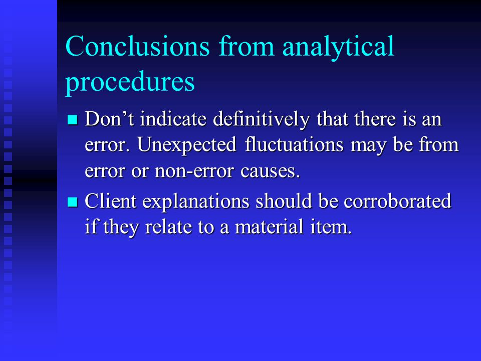 Conclusions from analytical procedures