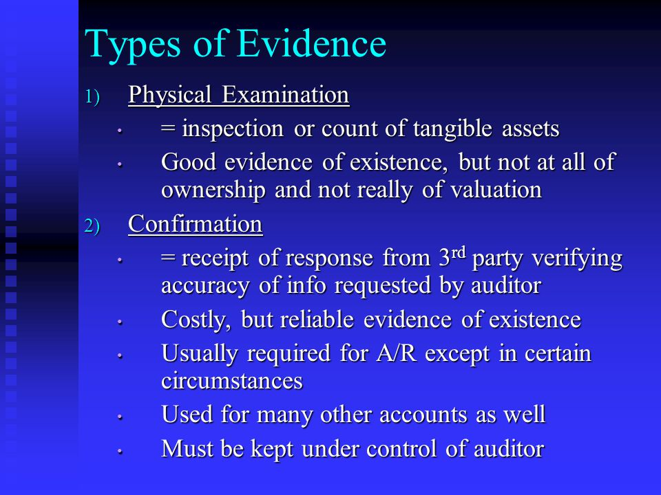 Types of Evidence Physical Examination