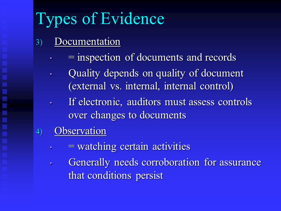 Types of Evidence Documentation = inspection of documents and records