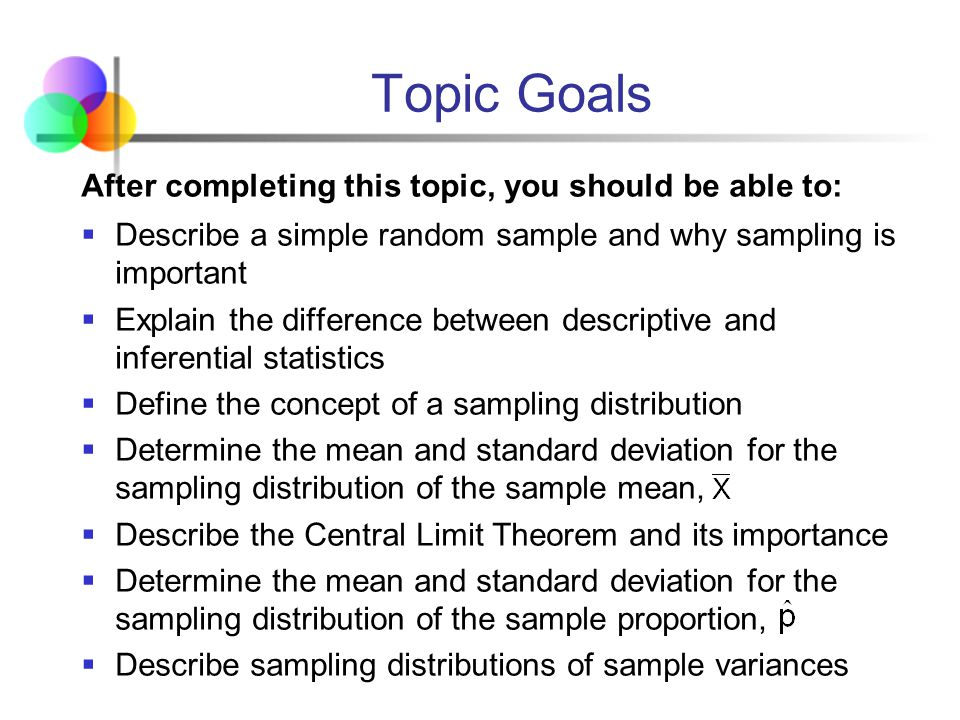 Topic Goals After completing this topic, you should be able to: