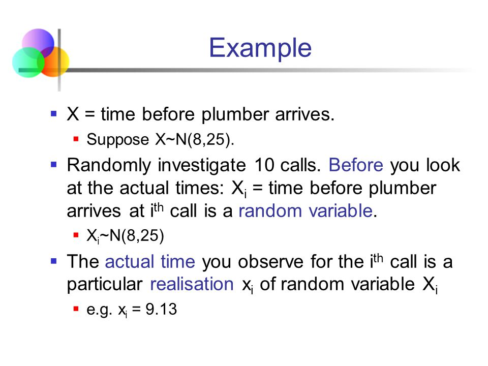 Example X = time before plumber arrives.