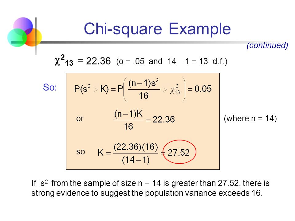 Chi-square Example 213 = (α = .05 and 14 – 1 = 13 d.f.) So: