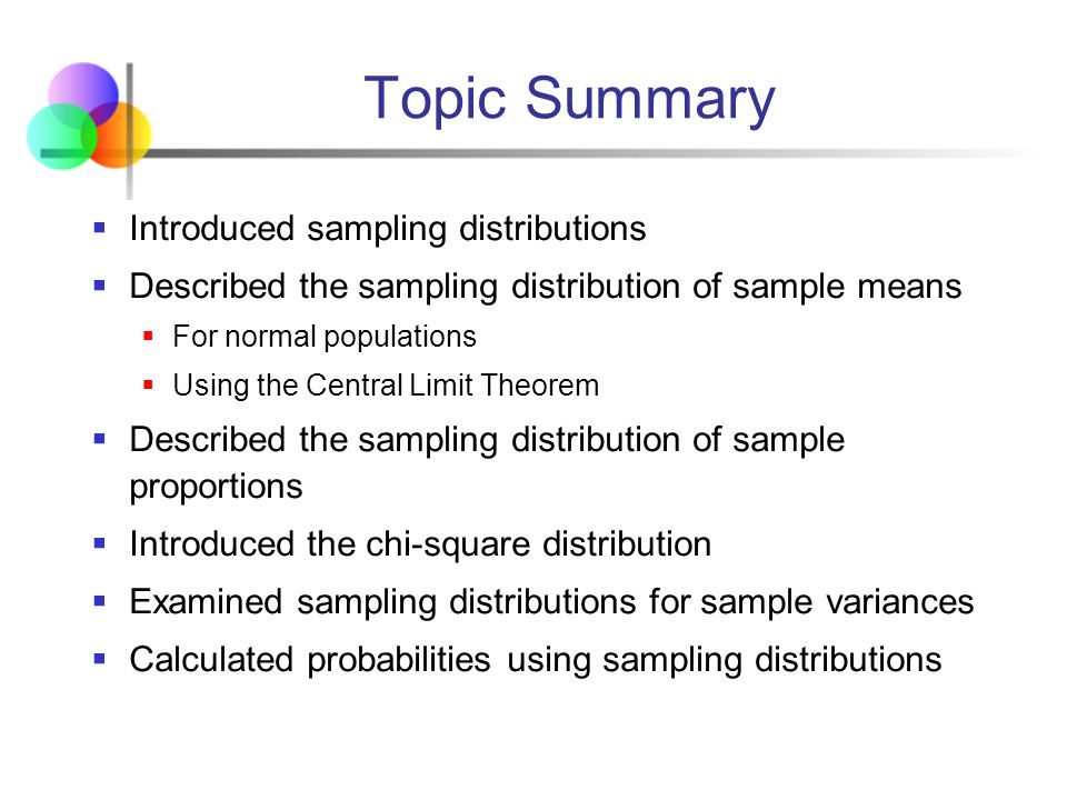 Topic Summary Introduced sampling distributions