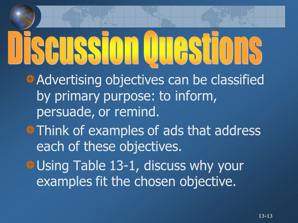 Discussion Questions Advertising objectives can be classified by primary purpose: to inform, persuade, or remind.